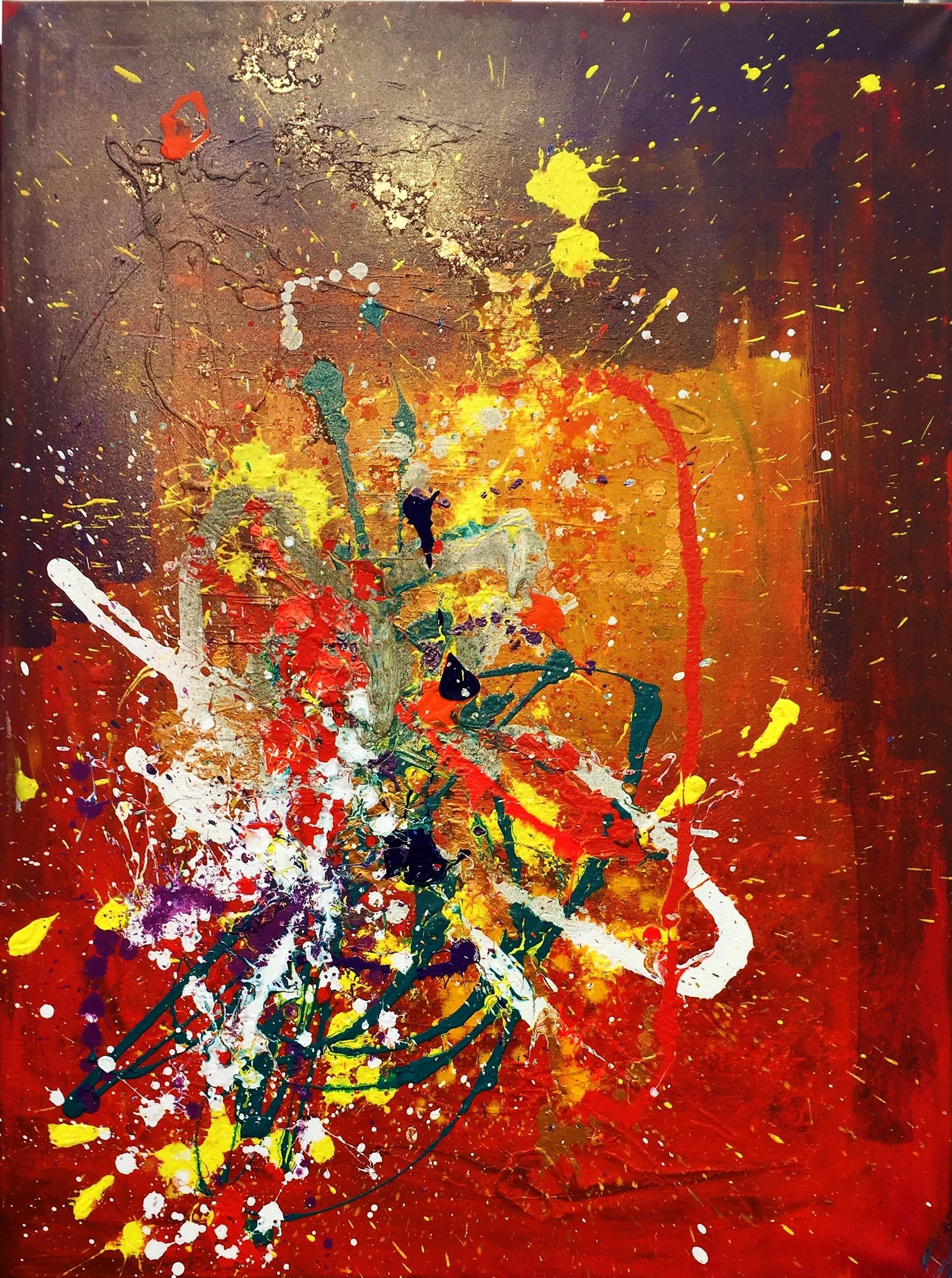 Tout feu, Tout flamme (120x90projection de peinture acrylique et encre sur toile)