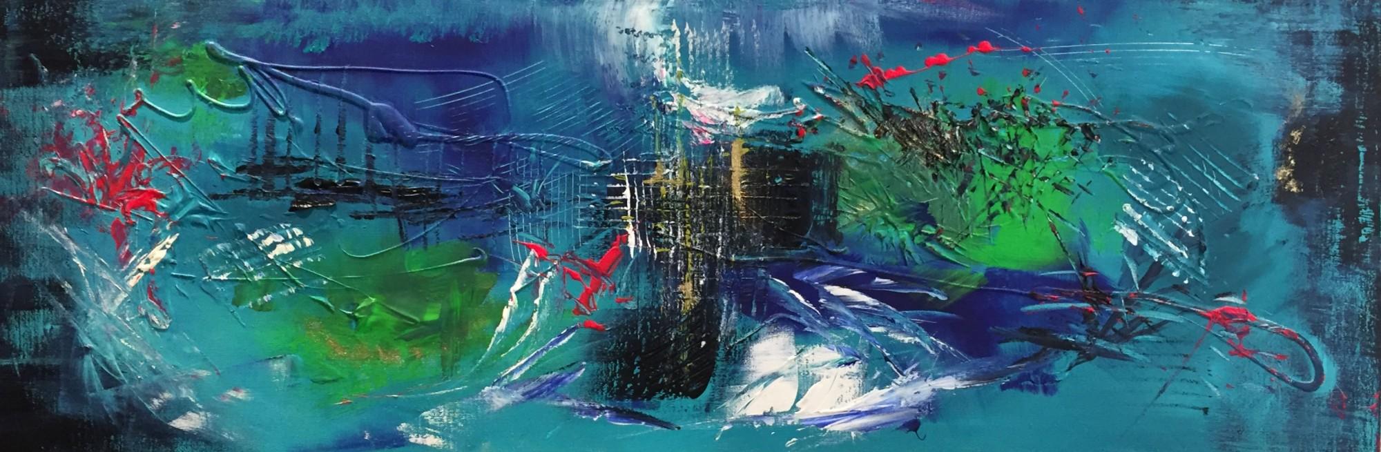 blue baye (120x30 acrylique et encre)