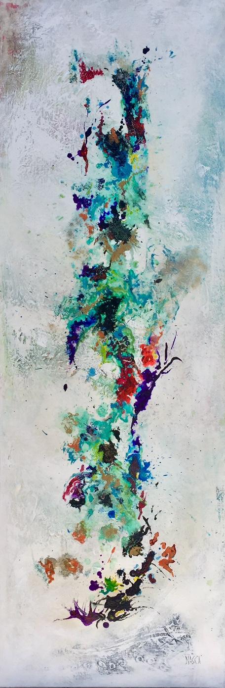 Flowers woman (150x50 acrylique,encre,patine sur toile, poudre d'or)