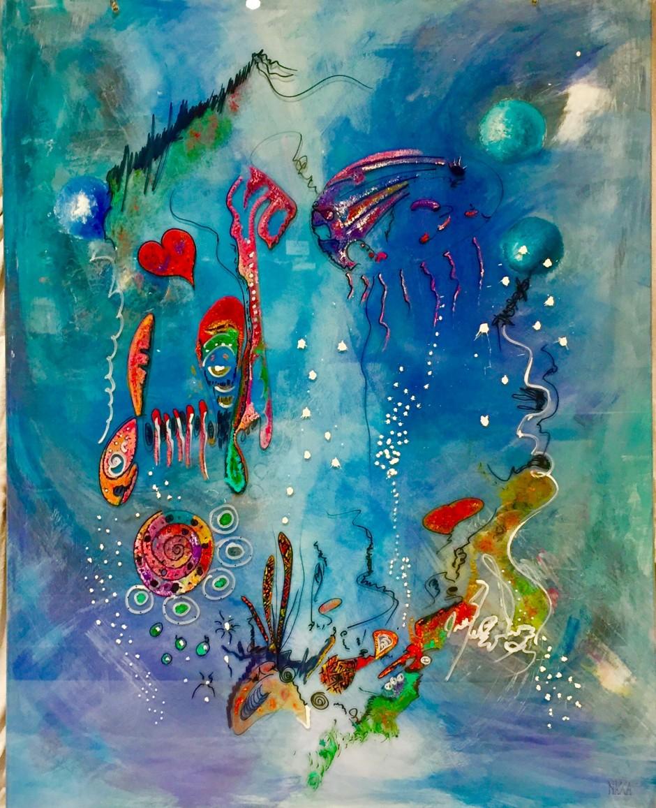 'Aqualove' sur double plexigass (120x95)